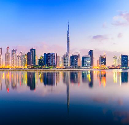 Burj Khalifa「The Downtown Dubai City Skyline at Sunset」:スマホ壁紙(3)