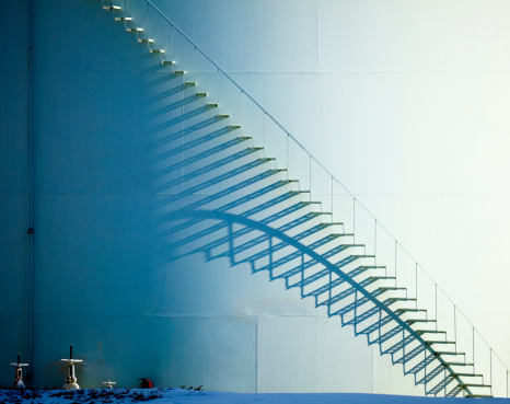 Spiral Staircase「White Staircase and Shadow on Oil Storage Tank」:スマホ壁紙(0)