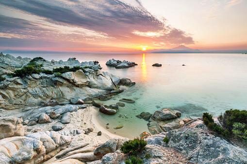 Halkidiki「Greece, Macedonia, Chalkidiki, Sarti, Orange Beach at sunset」:スマホ壁紙(3)