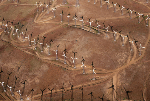 Wind Turbine「USA, Arizona, Mohave Desert, wind turbines, aerial view」:スマホ壁紙(6)