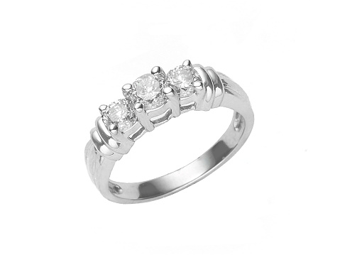 Jewelry「Three diamonds set in a white gold ring isolated on white」:スマホ壁紙(2)