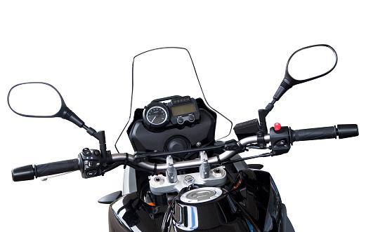 Mirror - Object「Motorbike handlebars and reversing mirros isolated on white」:スマホ壁紙(3)