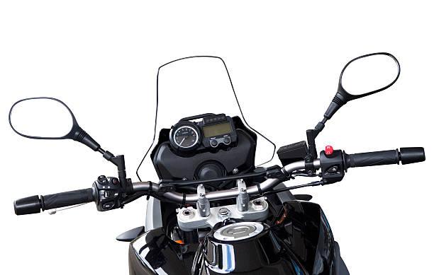 Motorbike handlebars and reversing mirros isolated on white:スマホ壁紙(壁紙.com)