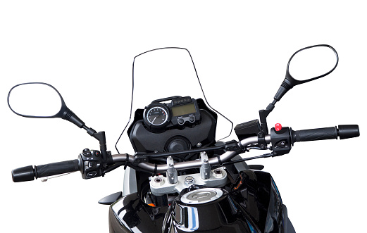 Handle「Motorbike handlebars and reversing mirros isolated on white」:スマホ壁紙(6)
