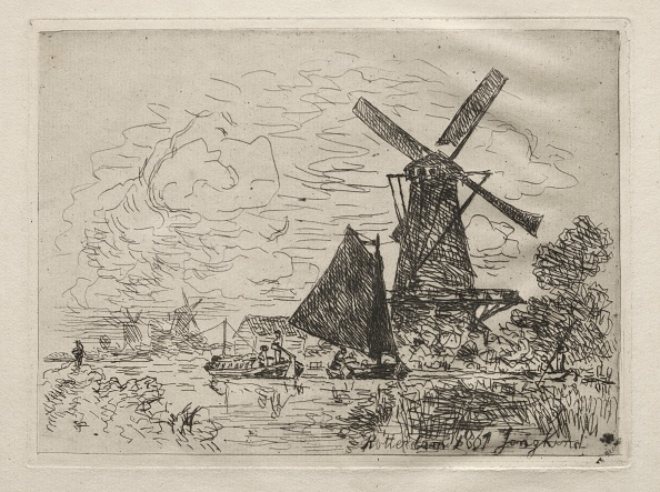 Etching「Windmills In Holland. Creator: Johan Barthold Jongkind (Dutch」:写真・画像(13)[壁紙.com]