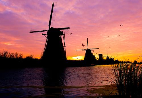 Netherlands「Windmills in Kinderdijk」:スマホ壁紙(2)