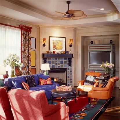 Ceiling Fan「Tiled Fireplace in Family Room」:スマホ壁紙(4)