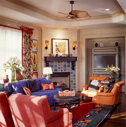 Ceiling Fan「Tiled Fireplace in Family Room」:スマホ壁紙(11)