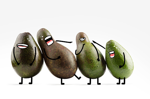 Cartoon「A group of avocado friends with illustrated facial features having fun, cry laughing with each other」:スマホ壁紙(9)