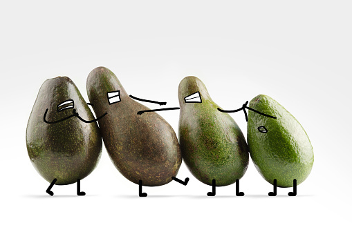 Cartoon「A group of avocado friends with illustrated facial features react to their angry friend」:スマホ壁紙(13)