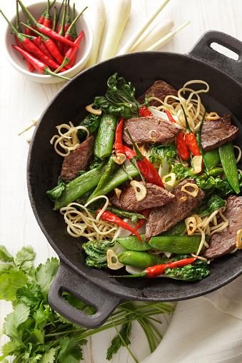 Wok「Asian Food: Stir Fried Beef and Noodles Still Life」:スマホ壁紙(16)