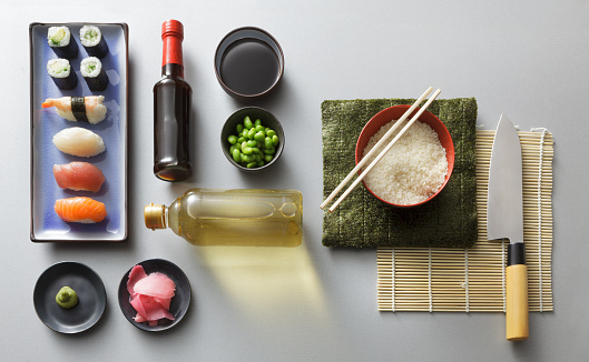 Japanese Food「Asian Food: Sushi Ingredients Still Life」:スマホ壁紙(3)