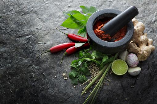 Pepper - Seasoning「Asian Food: Ingredients for Thai Red Curry Still Life」:スマホ壁紙(3)