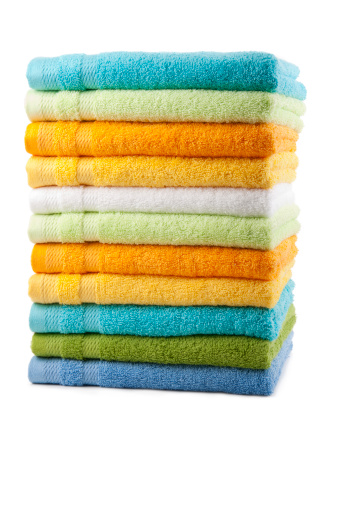 Clothing「Colorful towels placed in a stack」:スマホ壁紙(10)