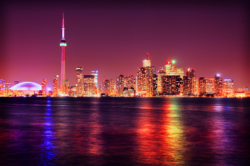 Large Group of Objects「Colorful Toronto City at Night」:スマホ壁紙(17)