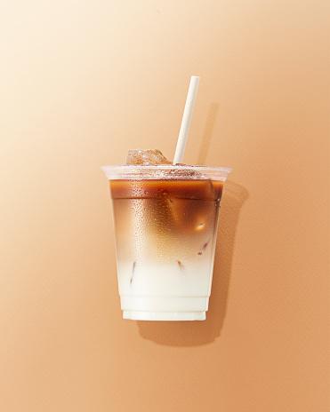 Latte「Cup of Cafe latte on brown Background」:スマホ壁紙(7)
