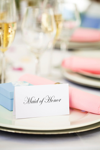 """Place Card「""""Maid Of Honor"""" Place Card, Wedding Favor On Plate」:スマホ壁紙(12)"""