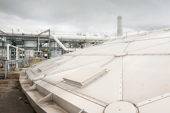Greenhouse Gas「The odour suppresant plant at Daveyhulme wastewater treatment plant in Manchester, UK. United Utilities Daveyhulme plant process's all of Manchester sewage and deals with 714 million litres a day. The sewage sludge from the plant is put in huge biodigest」:写真・画像(0)[壁紙.com]