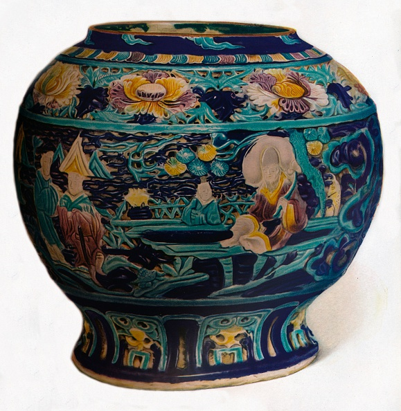 Porcelain「Fahua jar with openwork design showing the Eight Daoist Immortals, c1550」:写真・画像(1)[壁紙.com]