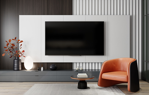 Glamour「8K TV Room modern minimalist living room with flat TV」:スマホ壁紙(16)