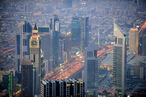 LypseUAE2015「Dubai Sheikh Zayed Road towers at dusk」:スマホ壁紙(17)