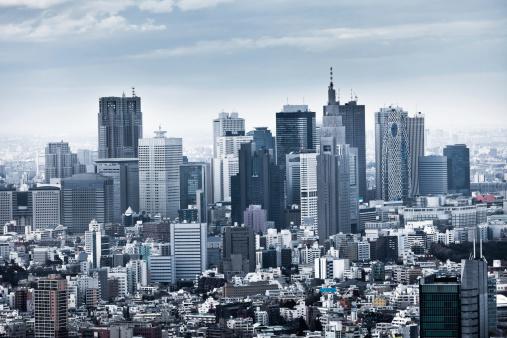 和風「新宿のスカイラインに東京,日本」:スマホ壁紙(14)