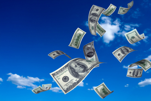 American One Hundred Dollar Bill「Money Falling from Sky」:スマホ壁紙(16)