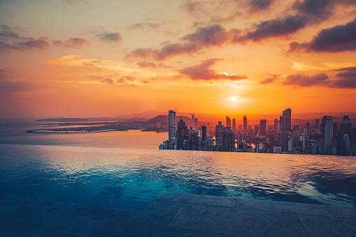 Central America「panama city skyline at sunset」:スマホ壁紙(11)
