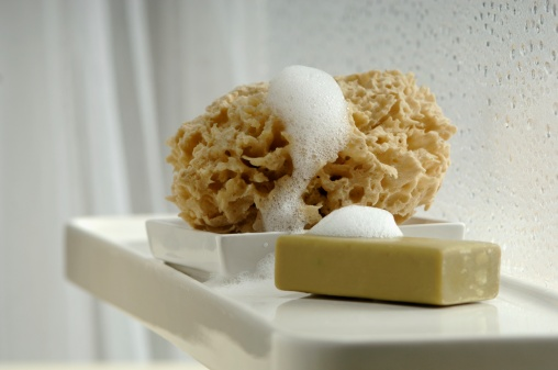 Part of a Series「Bar of soap and sponge in bathroom」:スマホ壁紙(17)