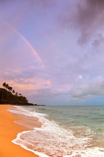 ハワイ ビーチ「Rainbow and Secret Beach, Kauai, Hawaii, USA」:スマホ壁紙(13)