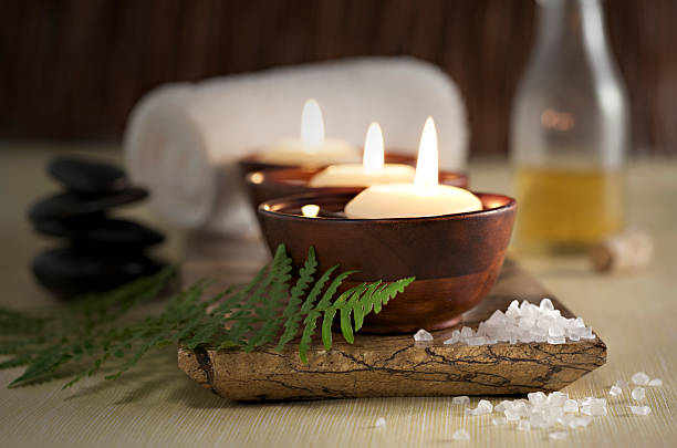 Floating Candles in a Zen Spa, Massage Stones and Oil:スマホ壁紙(壁紙.com)