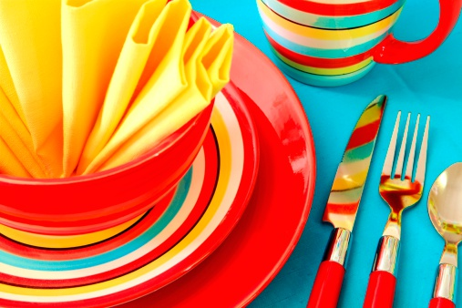 Casual Clothing「Bright Colorful Place Setting in red, yellow and turquoise」:スマホ壁紙(5)