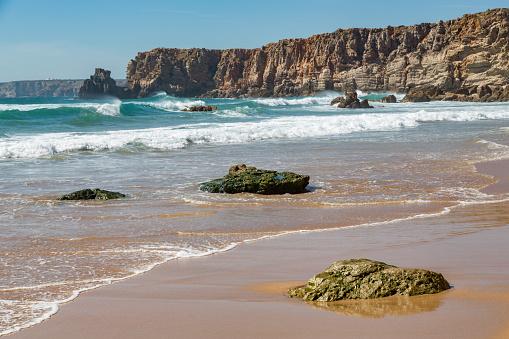 波「Playa de Tonel in the Algarve」:スマホ壁紙(4)