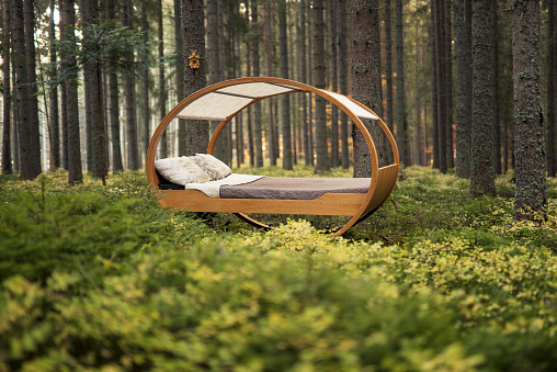 Bed - Furniture「Circular bed sits in the middle of autumnal forest」:スマホ壁紙(10)
