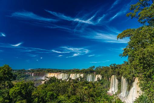 海外旅行「View across the Upper Circuit of multiple waterfalls on the Argentinian side, Iguazu Falls (UNESCO World Heritage Site), Iguazu, Argentina」:スマホ壁紙(5)