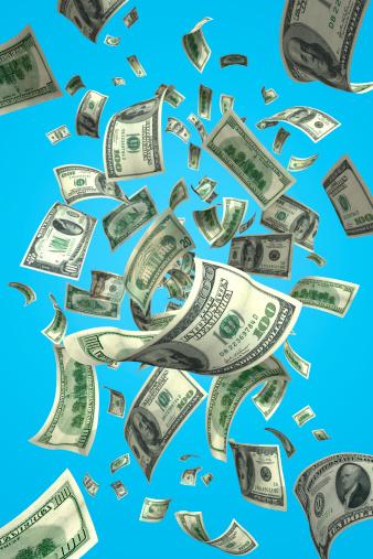American One Hundred Dollar Bill「Falling Money Bills (XXXL)」:スマホ壁紙(10)