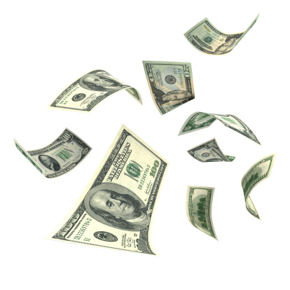 American One Hundred Dollar Bill「Falling Money (XXL)」:スマホ壁紙(11)