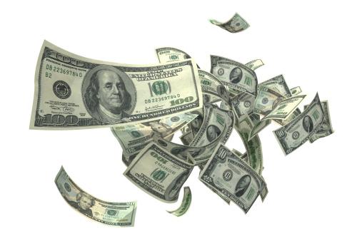 American One Hundred Dollar Bill「Falling Money (XXXL)」:スマホ壁紙(10)