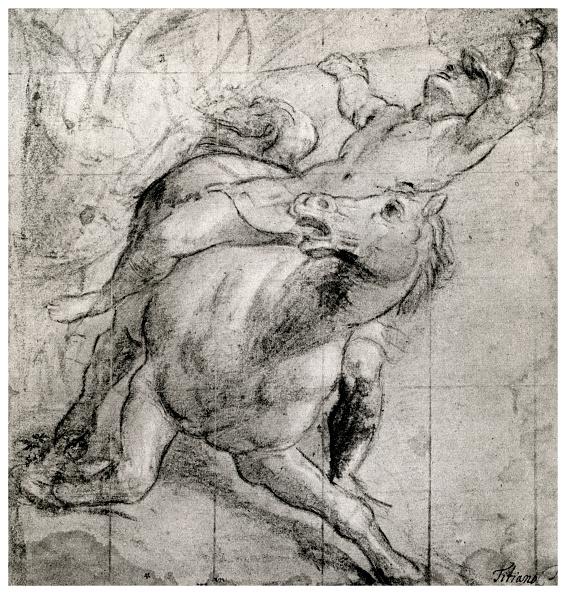 クレヨン「'Horseman Falling', c1565, (1937). Artist: Titian」:写真・画像(13)[壁紙.com]