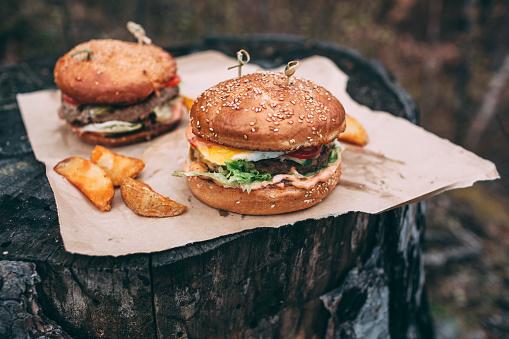 Hamburger「Fresh burger on stamp」:スマホ壁紙(10)