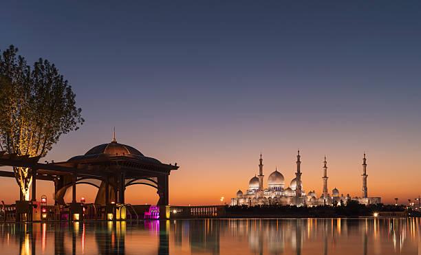 Abu Dhabi, Sheik Zayed Grand Mosque at sunset:スマホ壁紙(壁紙.com)