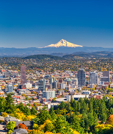 Cascade Range「Portland Oregon skyline with Mt. Hood in Autumn」:スマホ壁紙(16)