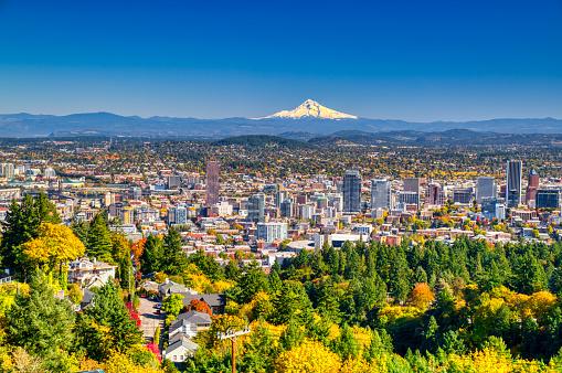 Mt Hood「Portland Oregon skyline with Mt. Hood in Autumn」:スマホ壁紙(16)