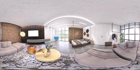 Denmark「Modern studio apartment 360 equirectangular panoramic interior」:スマホ壁紙(2)