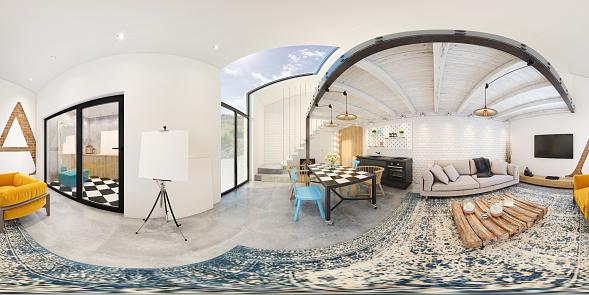 Art「Modern studio apartment 360 equirectangular panoramic interior」:スマホ壁紙(4)