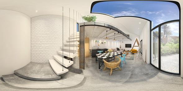 Template「Modern studio apartment 360 equirectangular panoramic interior」:スマホ壁紙(15)