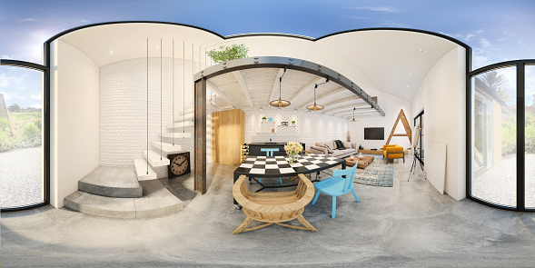 Panoramic「Modern studio apartment 360 equirectangular panoramic interior」:スマホ壁紙(4)