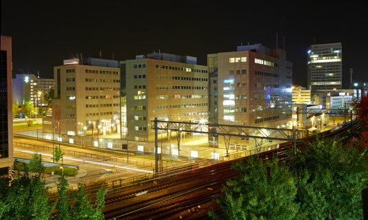North Brabant「Elevated skyline of Eindhoven at night」:スマホ壁紙(3)