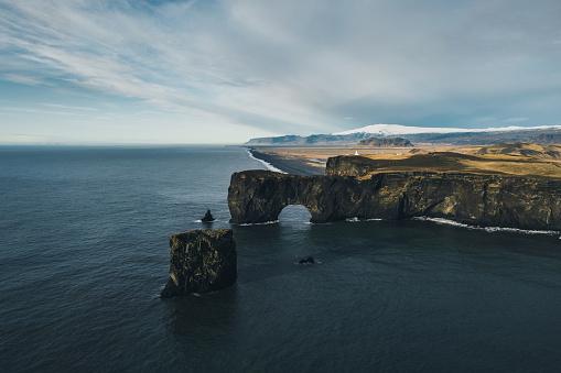 Dyrholaey「Scenic aerial  view of Dyrholaey arch in Iceland」:スマホ壁紙(10)