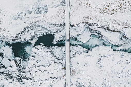 Drone Point of View「Scenic aerial view of Koluglufur waterfall in winter」:スマホ壁紙(6)